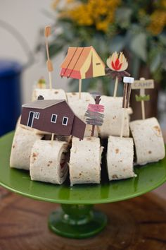 Camping food picks... Cute idea for any party, but I especially love these!