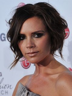 Even with short hair Victoria Beckham knows how to work her style. Simply scrunch-drying her hair to create this sexy, tousled bob.Top ten iconic beauty products Beauty news Celebrity beauty