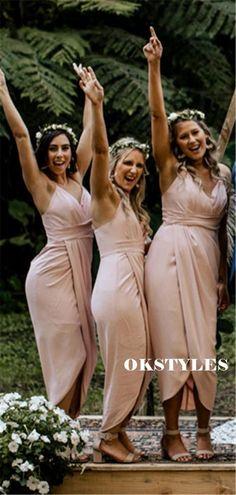 Sheath Spaghetti Straps V-neck Short Bridesmaid Dresses With Pleats, BD0639#bridesmaids #bridesmaiddress #bridesmaiddresses #dressesformaidofhonor #weddingparty #2020bridesmaiddresses