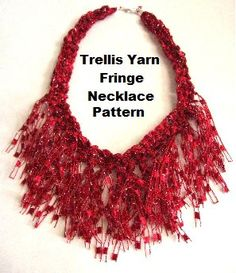 Crocheted Trellis Ladder Yarn Fringe Necklace PATTERN    THE PATTERN WILL BE EMAILED TO YOU.    Level: Intermediate Detailed instructions and
