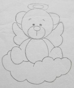 Art Drawings For Kids, Art Drawings Sketches Simple, Pencil Art Drawings, Cute Drawings, Drawing For Kids, Embroidery Patterns, Quilt Patterns, Hand Embroidery, Teddy Bear Sketch
