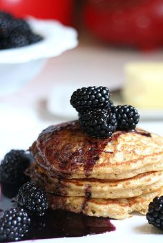 Whole Grain Oatmeal Pancake Mix + Blueberry Maple Syrup.  Need to really try to find a healthier option to the pancake recipe I have on hand so I won't feel so guilty letting the little one gobble them up!