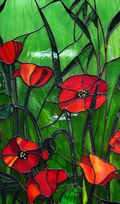 Poppies stained glass Stained Glass Quilt, Stained Glass Ornaments, Stained Glass Flowers, Faux Stained Glass, Stained Glass Lamps, Stained Glass Designs, Stained Glass Panels, Stained Glass Projects, Stained Glass Patterns
