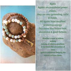 Agate and howlite stacked bracelet set $25.00