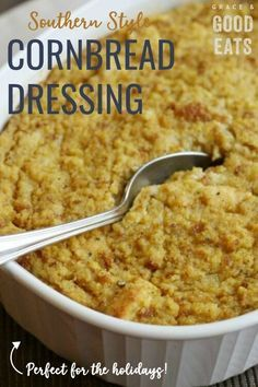 My grandmother's Southern-Style Cornbread Dressing is one of my favorite Thanksgiving traditions. Make this dressing recipe and you won't be disappointed! Serve this cornbread stuffing along side your turkey or chicken. Southern Style Cornbread Dressing, Cornbread Dressing With Sausage, Homemade Cornbread Dressing, Cornbread Dressing With Chicken, Southern Cornbread Recipe, Cornbread Stuffing, Old Fashion Cornbread Dressing Recipe, Easy Stuffing Recipe, Stuffing Recipes