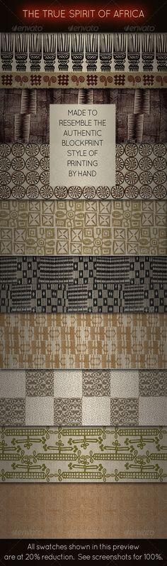 African Ethnic Fabric Designs - Blockprint Style - Fabric Textures