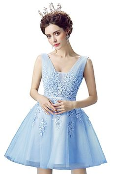 bc9aba07b09 Babyonlinedress Tulle Lace Applique Junior s Formal Cocktail Homecoming  Dresses at Amazon Women s Clothing store  Short