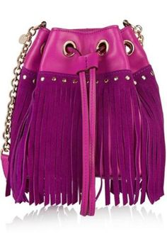 Disco fringed suede and leather shoulder bag #accessories #women #covetme #Diane von Furstenberg