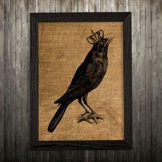 Wildlife art Blackbird poster Bird print Burlap print BLP116