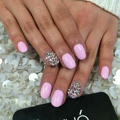 Simple Pink Nails with Swarovski by laqué nail bar @laquenailbar Instagram photos