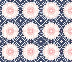 Navy and Pink Medallion fabric - sugarfresh - Spoonflower