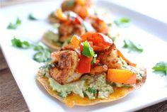 Simple Shrimp and Guacamole Tostadas.