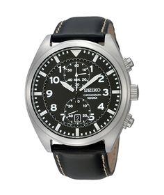 Amazon.com: Seiko SNN231P2 Chronograph Men's Black Dial Black Leather Strap Quartz Watch: Seiko: Watches