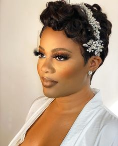 Black Bridal Makeup, Bridal Hair And Makeup, Bride Makeup, Wedding Hair And Makeup, Hair Makeup, Simple Wedding Makeup, Black Wedding Hairstyles, Short Wedding Hair, Bride Hairstyles