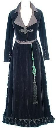 c. 1909-1914 JEANNE LANVIN, Paris Black Cotton Velvet Walking Suit with Separate Original Tasseled Sash; just   so everyone knows, I would kill to have this...