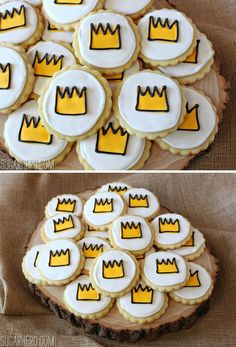 Crown-topped lemon sugar cookies for a Where the Wild Things Are birthday party!