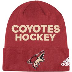 78cfe22e326 Men s Arizona Coyotes adidas Garnet Locker Room Cuffed Knit Hat