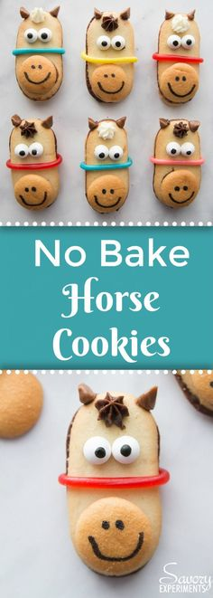 No Bake Horse Cookies Recipe - Kentucky Derby Food Kinder Party Snacks, Cute Snacks, Cute Food, Bake Sale Ideas, Bake Sale Recipes, Cookie Recipes, Horse Party Food, Horse Theme Birthday Party, Kentucky Derby Party Ideas