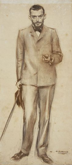 Retrat de Josep Llimona by Ramon Casas i Carbó (Catalan/Spanish 1866-1932)