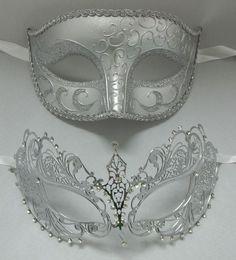 Lovers Men Woman Couple Silver Metal Glitter Venetian Masquerade Ball Mask Masks