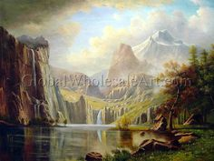 """""""A View In The Mountains"""" by Albert Bierstadt. $287 USD. 36""""h x 48""""w (90x120cm). To shop this oil painting click here: http://globalwholesaleart.com/a-view-in-the-mountains-p-452.html"""
