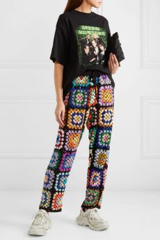 Ashish sequinned patchwork crochet trousers in black; Wish list and beautiful styles from NET-A-PORTER for designer shoes, bags, and cloth! Mode Crochet, Knit Crochet, Crochet Pants, Crochet Shirt, Crotchet, Crochet Bikini, Crochet Clothes, Diy Clothes, Fall Clothes