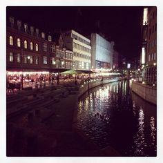 River walk at night in Aarhus Denmark.