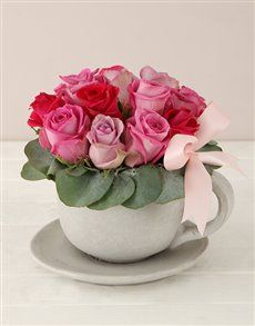 gifts: Pink Swirl Tea Cup and Saucer Arrangement! Womens Day Gift Ideas, Same Day Delivery Service, Ladies Day, Cup And Saucer, Tea Cups, Pink, Gifts, Presents, Favors