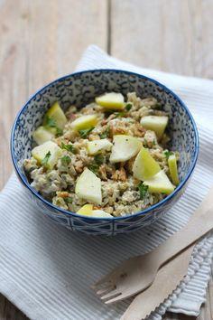 rijstsalade met appel en walnoot - Lekker en Simpel
