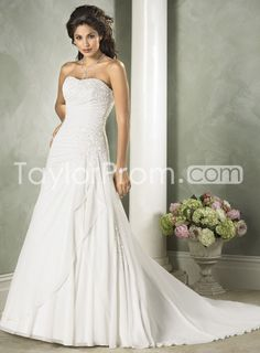 A Line Strapless Wedding Dresses Princesses Chapel Train White