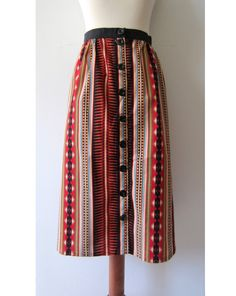 90s Striped Southwestern Button-up Skirt, L // Vintage Skirt