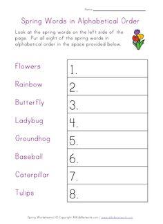 spring worksheet - alphabetical order