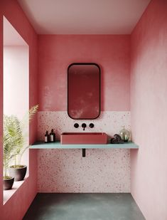 Pink and blue bathroom. Love the mirror, the terrazzo backsplash, the plaster pink walls, the light and big window...