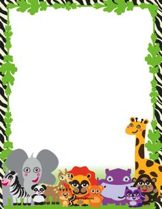 This printable jungle border is populated with cute, happy animals like lions, hippos and giraffes. Free to download and print.