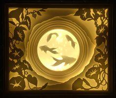 Paper cut shadow box art- morning glory and goldfish Shadow Light Box, Diy Shadow Box, 3d Paper, Paper Crafts, Diy Cadeau, Paper Light, Photo Craft, Paper Cutting, Cutting Board