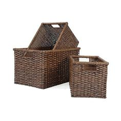 Metro Split Rattan Square Storage Basket - Dark Brown - Set of ($64) ❤ liked on Polyvore featuring home, home decor, small item storage, brown, dark brown baskets, square storage baskets, storage baskets, chocolate boxes and woven basket