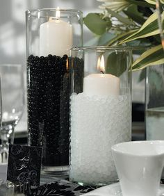 Wedding, Reception, Candles, Centerpieces, Vase glass, Color white, Vase cylinder, Water pearls