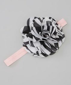 Take a look at this Black & White Zebra Flower Headband by Too Sweet on #zulily today!