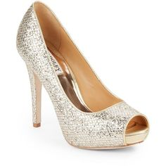 Badgley Mischka Humbie Glittery Platform Pumps ($70) ❤ liked on Polyvore featuring shoes, pumps, metallic gold pumps, glitter pumps, peep toe pumps, peep-toe flats and gold peep toe pumps