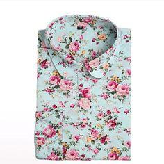 Vintage Women Shirts Long Sleeves Cotton Blouses Turn Down Collar Floral Shirts Blusas Femininas Fashion Women Shirt Tops