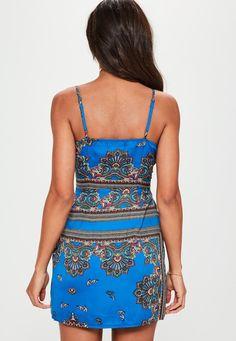 Missguided - Blue Paisley Twist Cami Dress