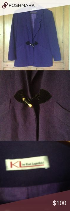 Karl Lagerfeld wool and cashmere blazer Scalloped collar, black and gold statement toggle closure on this fabulous vintage Karl Lagerfeld blazer! Royal purple. Karl Lagerfeld Jackets & Coats