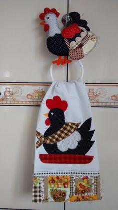 Suporte com o pano de prato galinha   Edna & Néia Artesanato   Elo7