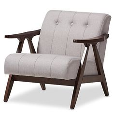 "Baxton Studio Isabelle Mid-Century Modern Walnut Wood Grey Fabric Lounge Chair, Chair, Grey/""Walnut"" Brown"
