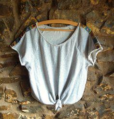 Gypsy Shoulder Top  Handmade jewellery & reworked clothing at www.oakjewelleryclothing.co.uk #reworked #fashion #oak #tshirt #ribbon #gypsy #pattern #DIY
