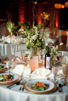 low centerpieces with hydrangea, callas, bluplerum brocade designs nashville wedding florist
