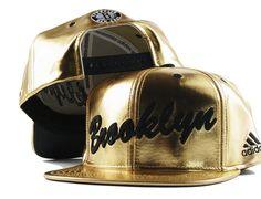 Brooklyn Nets Gold Snapback Cap by ADIDAS x NBA Leather Fabric, Gold Leather, Adidas Presents, Best Caps, Brooklyn Nets, New York Knicks, Snap Backs, Stussy, Snapback Cap