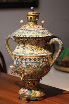 Russian Antique Silver Enamel Samovar - $26,100.00