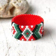 Colorful ring Seed bead ring Bead woven ring Boho by HappyBeadwork