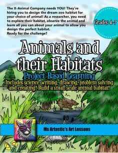 Project Based Learning: Animals and their Habitats. Learn with science, writing, drawing, problem solving, research with technology and creating a small scale, dream habitat for a choice of animal. Description: Prompt for InquiryYou are have been hired to design a dream habitat for an animal of your choice for a new zoo being built by the X-Animal Company. #animalhabitats